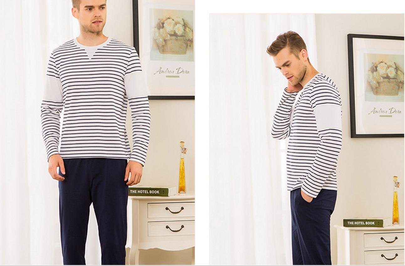 MYM Pijamas de algodš®n nuevo par bajar juegos de ropa de rayas de algodš®n de los hombres: Amazon.es: Deportes y aire libre