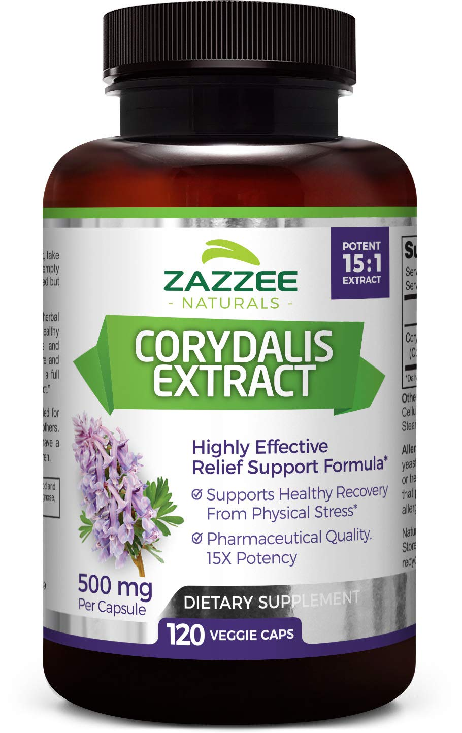 Zazzee Corydalis Extract, 500 mg, 120 Vegan Capsules, Powerful 15:1 Extract, Extra Strength Premium Grade, Vegan, All-Natural and Non-GMO, Natural Support for Pain Relief