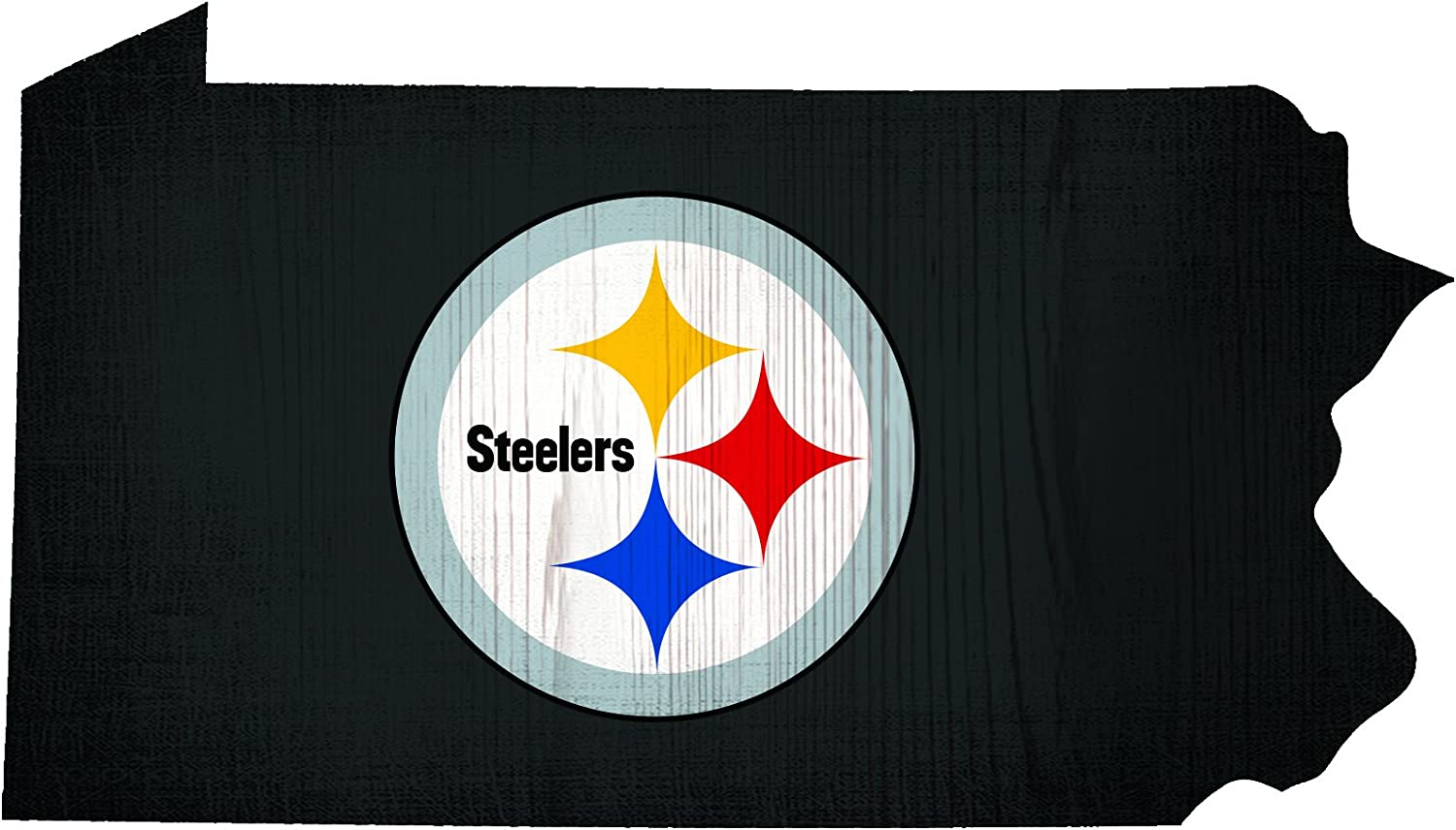 Fan Creations Pittsburgh Steelers Wood Sign 12 Inch State Shape Design