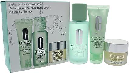 Clinique 3Step Creates Great Skin Jabón Líquido + Loción + Crema Hidratante para Cuidado Facial - 1 Pack: Amazon.es: Belleza