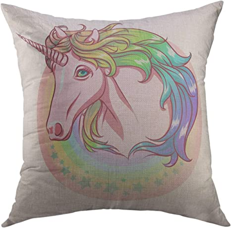 18 x 18-Inch Unicorn Throw Pillow Cover Only Decorative for Kids Birthday