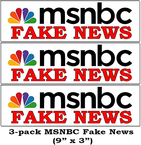 Amazon.com: BigEasyStores 3-Pack MSNBC Fake News Funny Bumper ...