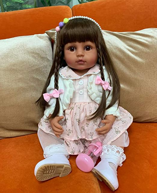 Reborn Baby Dolls with Realistic African American 22.8 inches Girl Doll Weighted Newborn Dolls Gift Set