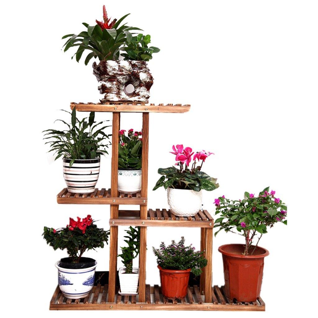 QING MEI 屋内のポットラックシェルフストレージラックリビングルームのベッドルームバルコニーのディスプレイフロアスタンド耐腐食の固体木材プラントフレーム4層の花のスタンド多層庭のディスプレイスタンド木製 A+ B07KBWM8HF