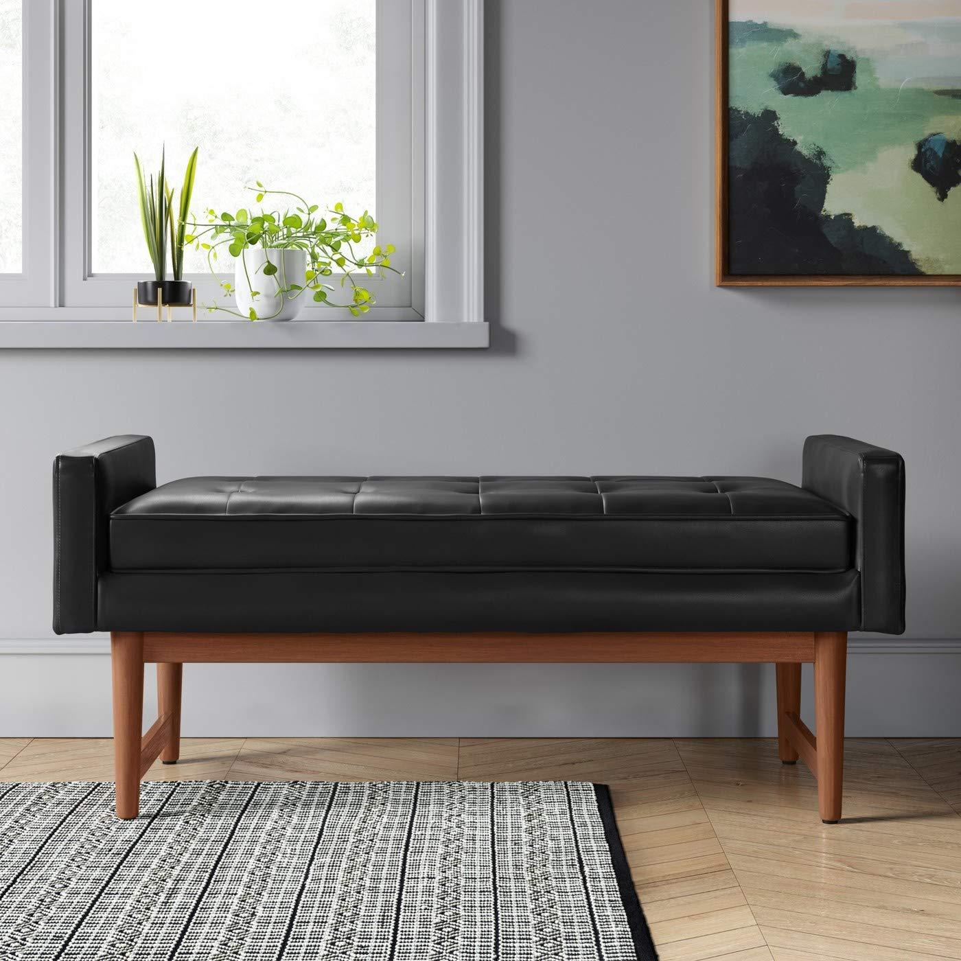 Incredible Amazon Com Verken Mid Century Modern Faux Leather Bench Inzonedesignstudio Interior Chair Design Inzonedesignstudiocom