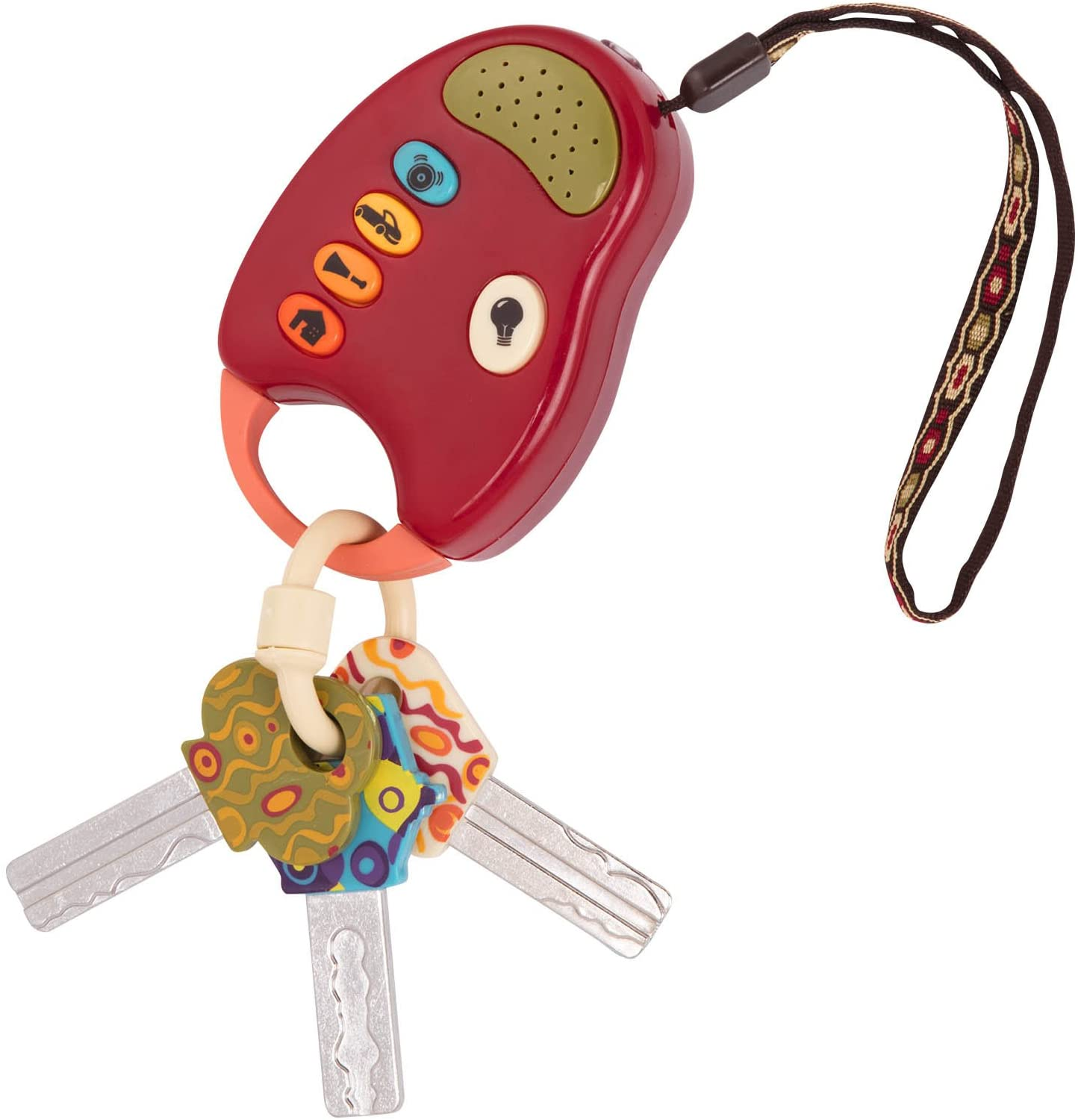 B Toy Car Keys and Red remote with Light and Sounds FunKeys Toy toys Funky Toy Keys for Toddlers and Babies Non-Toxic