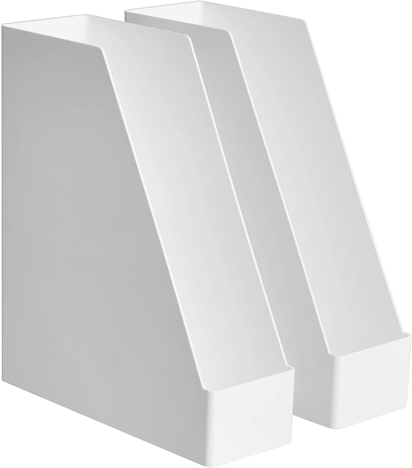 AmazonBasics Plastic Desk Organizer - Magazine Rack, White, 2-Pack