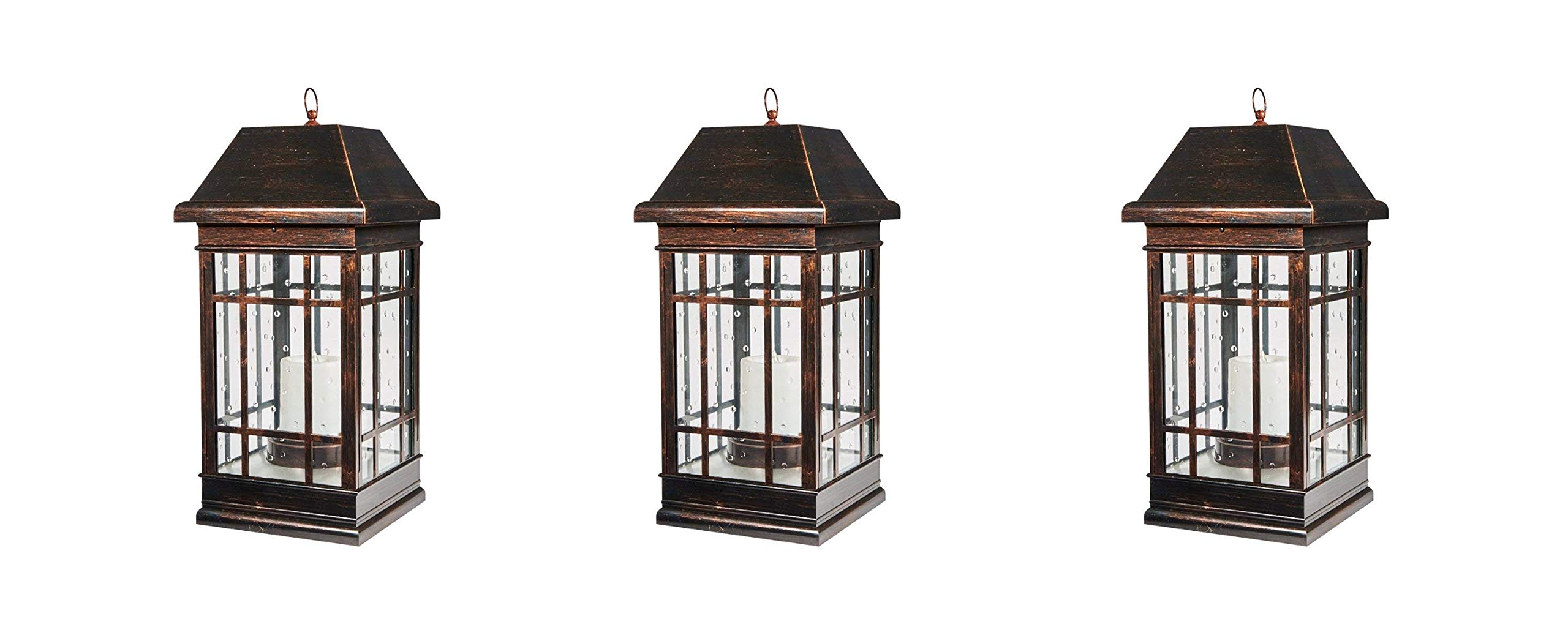 Smart Solar 3900KR1 San Rafael Mission Style Illuminated by 2 High Performance Warm White LEDs in The Top Solar Powered Lantern, 22-Inch, Antique-Bronze (Pack of 3)