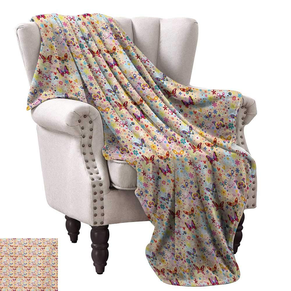 color07 60\ WinfreyDecor Baby Warm Blanket Cute Butterflies Girlish Kids Playroom Flowers Princess Baby Nursery Cartoon Theme Sofa Chair 60  Wx60 L Multicolor