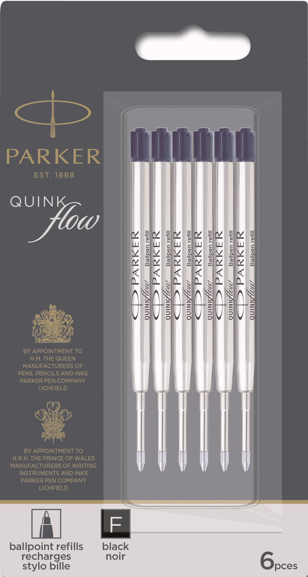Parker QUINKflow Ballpoint Pen Ink Refills, Fine Tip, Black, 6 Count Value Pack (2025155) by Parker (Image #1)