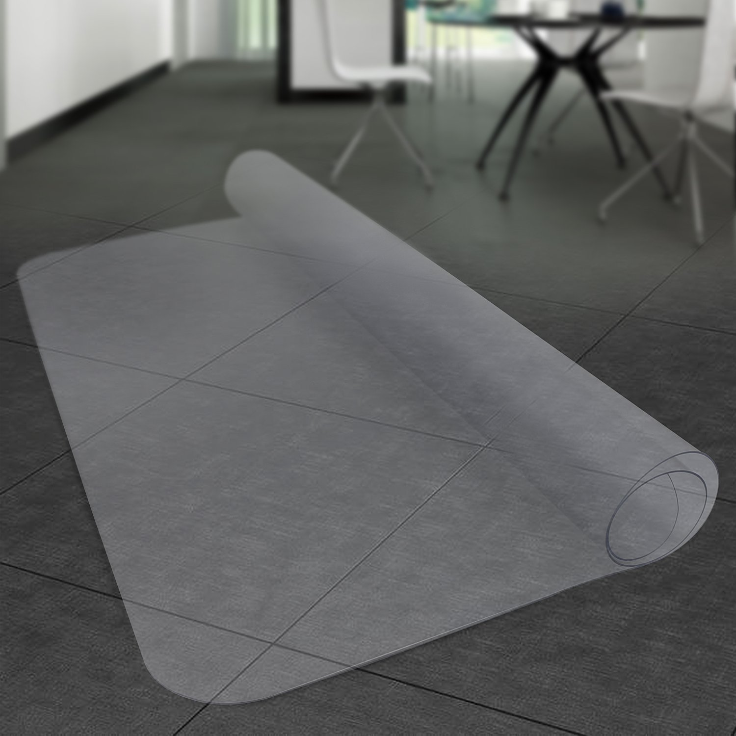 MATDOM Office Chair Mat for Hardwood Floor,48''×36'' Great Clear Vinyl Hard Floor Mat with Smooth Surface, Anti-Slip Thick and Sturdy Desk Floor Protective Mats