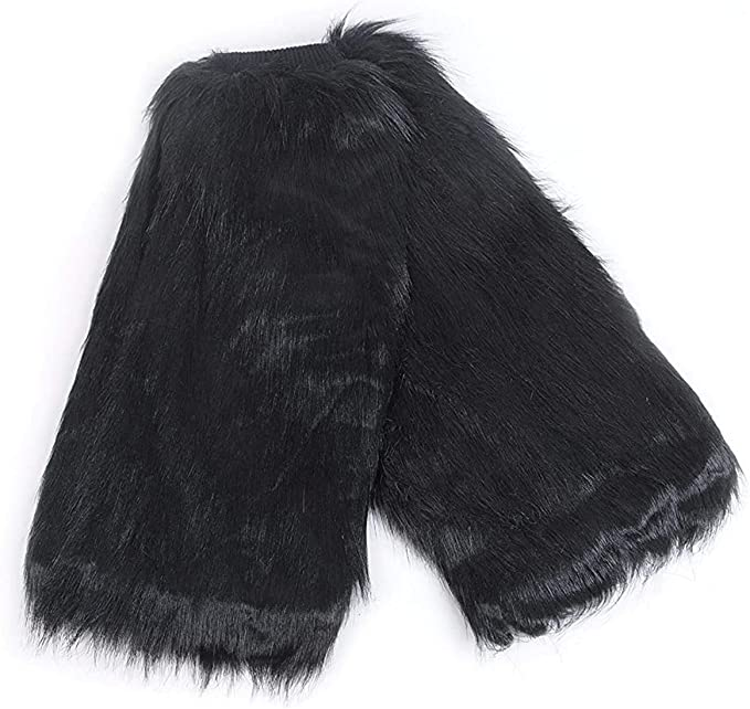Faux Fur Women Leg Warmers Fluffy Shaggy Boot Shoes Covers Ankle Sleeve Muffs