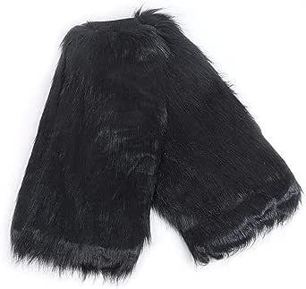 Women's Fur Leg Warmers Sexy Furry Fuzzy Leg Warmers Soft Boot Cuffs Cover, 40CM