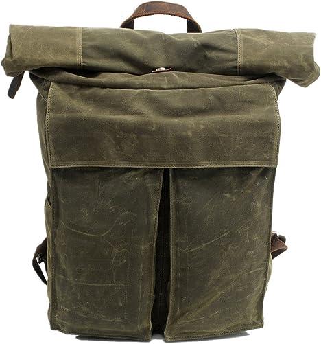 DRF Canvas Backpack Rolltop Rucksack Hiking Waterproof BG243 Green