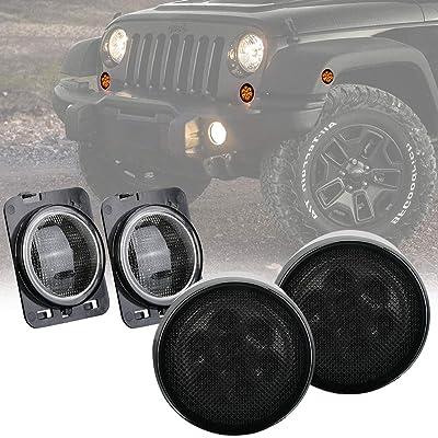 Smoke Lens Amber Turn Signal LED Light & Fender Side Marker Light for 2014-2020 Jeep Wrangler JK JKU: Automotive