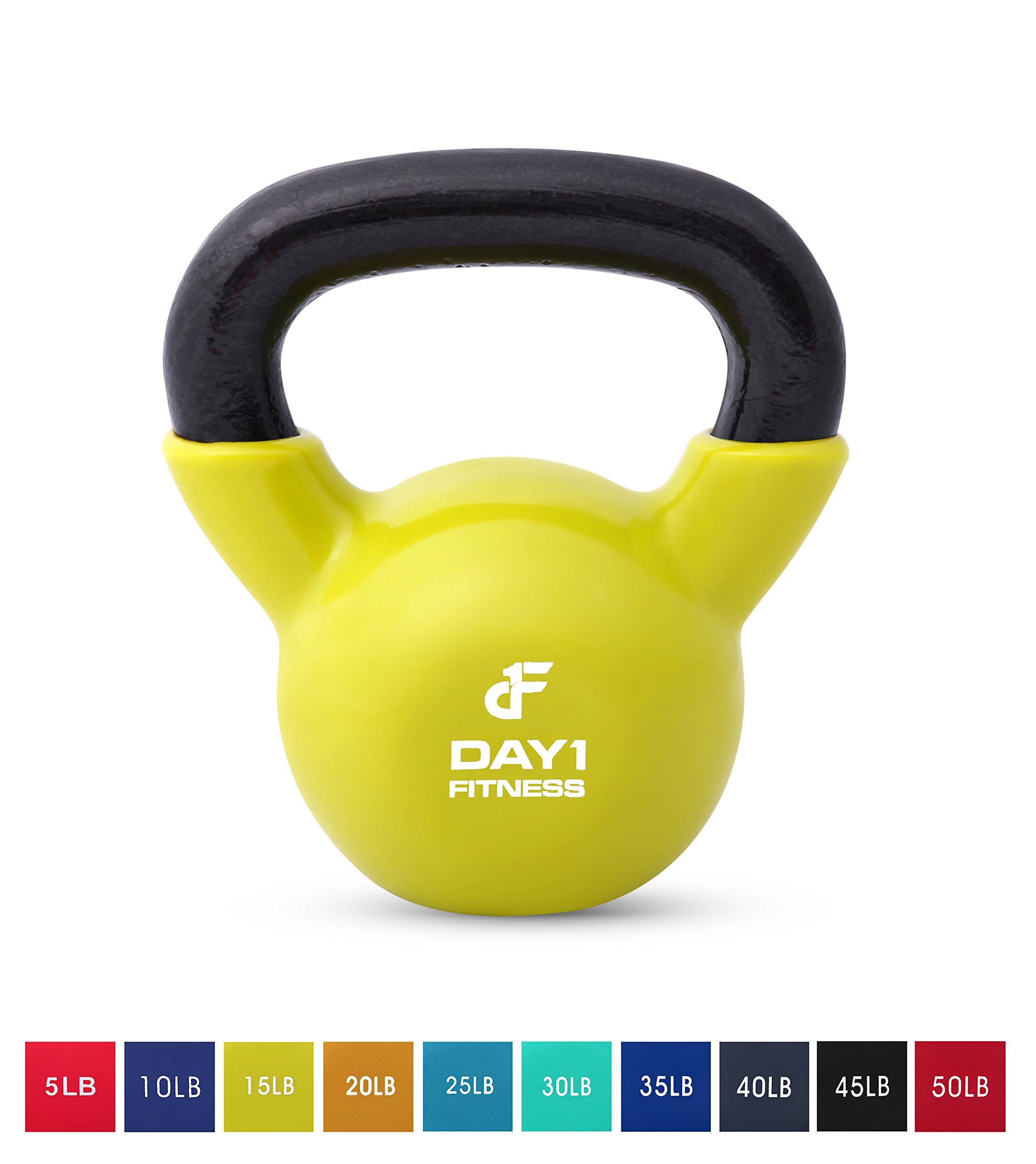 Day 1 Fitness Kettlebell Weights Vinyl Coated Iron 15 Pounds - Coated for Floor and Equipment Protection, Noise Reduction - Free Weights for Ballistic, Core, Weight Training by Day 1 Fitness (Image #1)