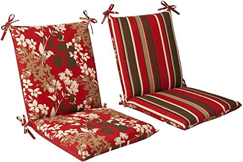 Pillow Perfect Indoor Outdoor Red Brown Floral Striped Reversible Chair Cushion, Squared