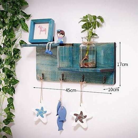 Escalera de madera única vintage flotante estantes decoración de la pared anillo de montaje perchero rack de ropa Rack de exhibición rural de almacenamiento con guarnición para cocina, baño, sala de estar: