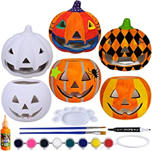 6 Sets DIY Ceramic Pumpkins Jack-o'-Lanterns Figurines Paint Craft Kit Unpainted Bisque Ceramics Pumpkins Ready to Paint for Kids Classroom Art Project Fall Gift Favors Halloween Party Decoration