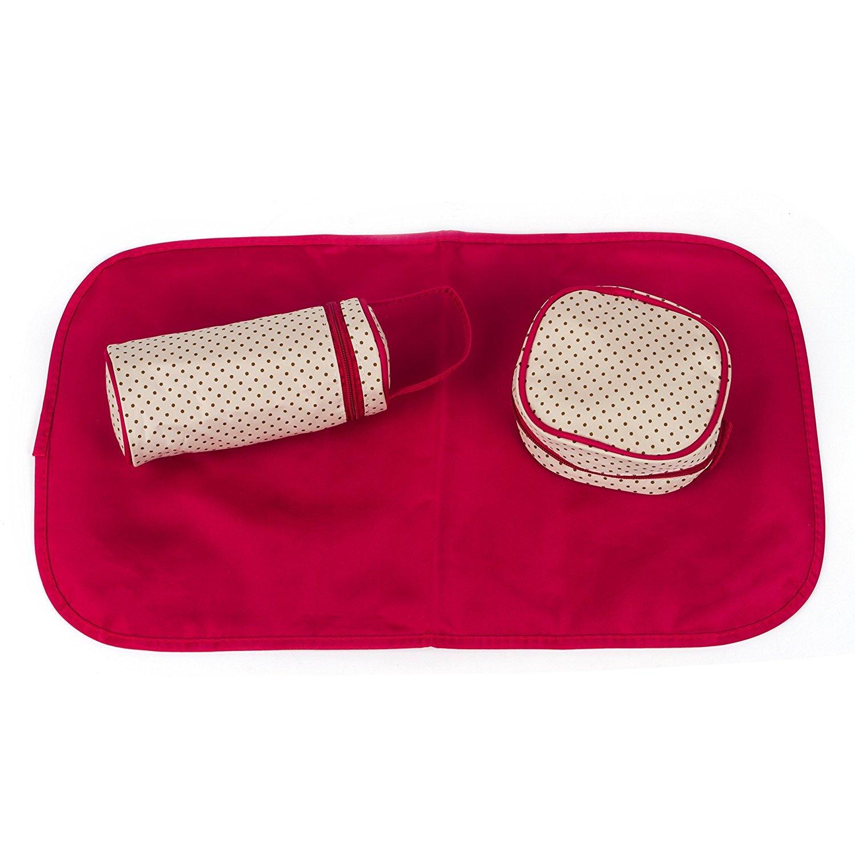 5pcs/set Nappy Baby Diaper Bag Travel Diaper Tote Bag Handbag Diaper Bag for Mummy and Dad (Red)