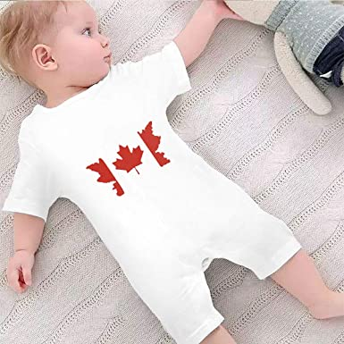 Canada American Flag Baby Boys Girls Jumpsuit Short-Sleeve Romper Bodysuits
