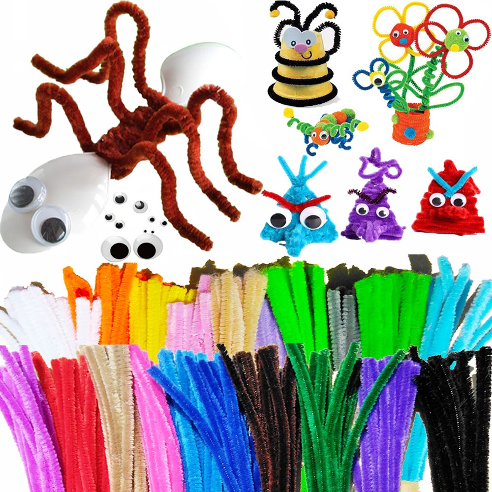 Pipe Cleaners set 420 Pcs 20 Colors 320 Chenille Stems with 100 Wiggle Googly Eyes slove