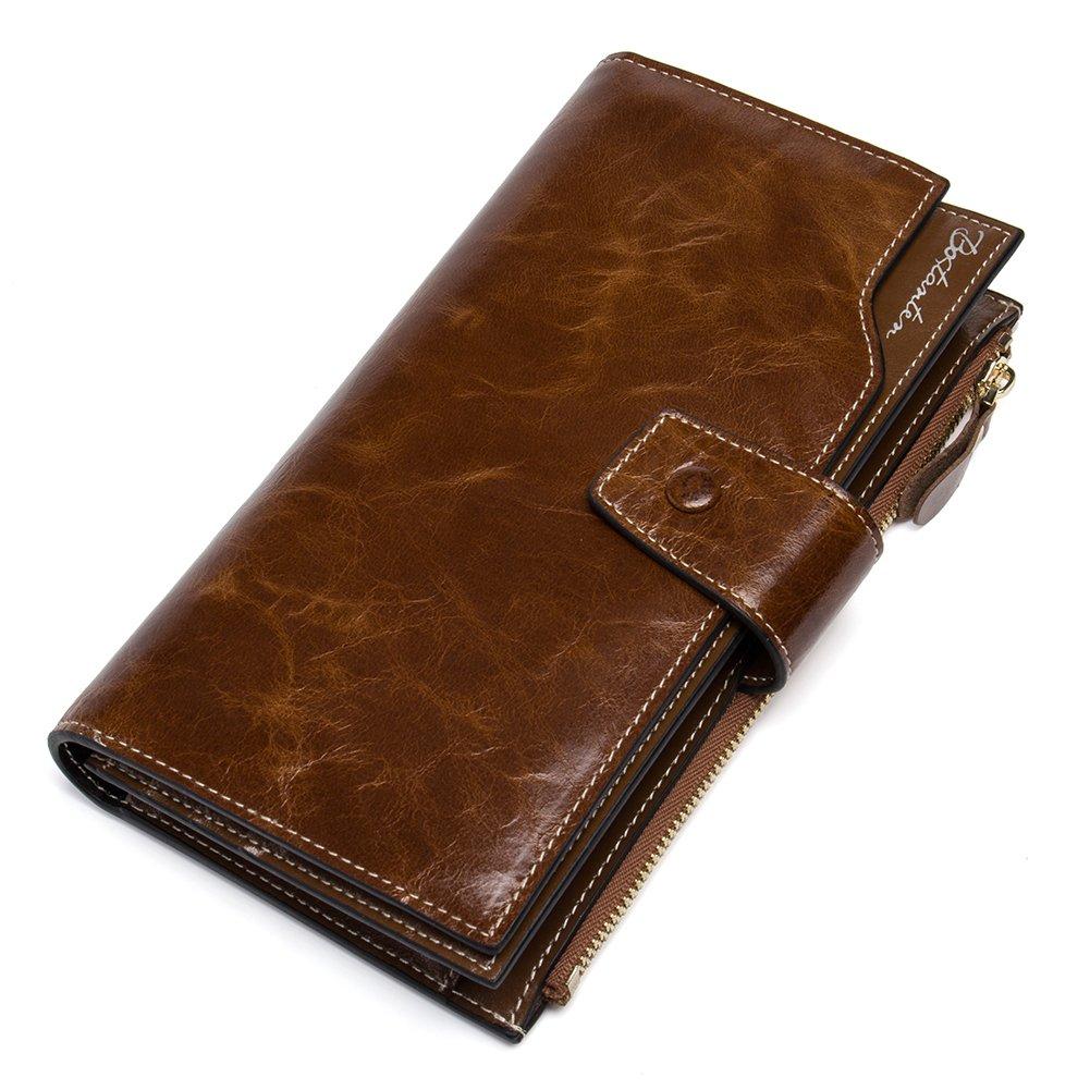 dd08eb0eaf8b03 BOSTANTEN Leder Damen Portmonee Portemonnaie Geldbörse Handtasche Wallet  Geldbeutel Clutch Groß Braun: Amazon.de: Koffer, Rucksäcke & Taschen