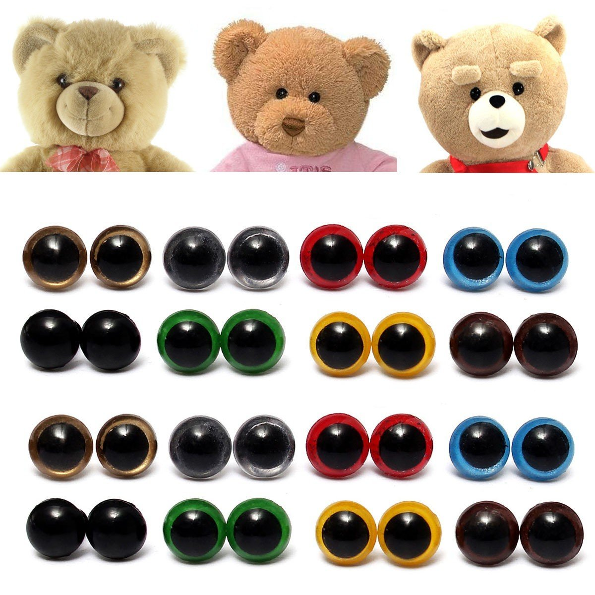 80pcs 8 Mixed Color Plastic Safety Eyes Washers for Animal Toy Teddy Bea ITY
