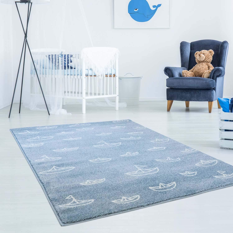 Kinderteppich Hochwertig Bueno mit Maritimen Muster, Segelboote in Blau Weiß mit Glanzgarn für Kinderzimmer Größe 160 230 cm