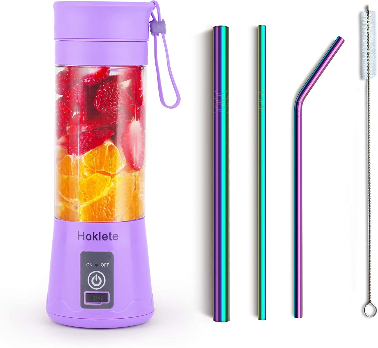 Hoklete Portable Blender, Personal Blender for Shakes and Smoothies, Reusable Straw, 13OZ, USB Rechargeable, Charging Port with Lid, Six 3D Bladers,Purple