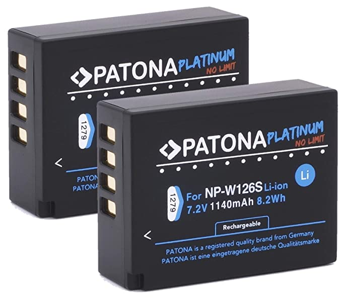 Patona Platinum (2X) Ersatz für Akku Fujifilm NP-W126s NP-W126 (echte 1140mAh) FinePix HS50EXR HS30EXR HS33EX X100F X-A5 X-A1