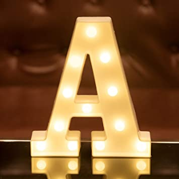 Focux LED Letter Lights Alphabet Light Up Sign for Night Light Home Party Birthday Wedding Bar Decoration (A)