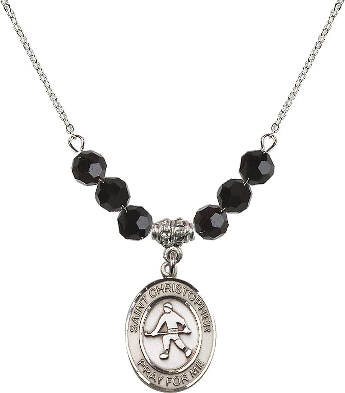 Bonyak Jewelry 18 Inch Rhodium Plated Necklace w// 6mm Jet Birth Month Stone Beads and Saint Christopher//Field Hockey Charm