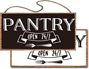 vizuzi Pantry Sign - Rustic Kitchen Sign - Modern Farmhouse Kitchen Decor, Kitchen Wall Decor, Rustic Home Decor, Country Kitchen Hanging Wood Sign