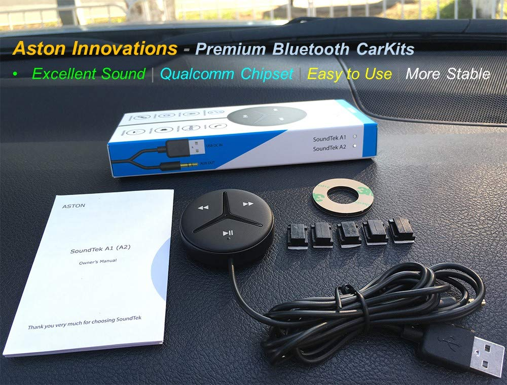 HD Audio Streaming for Car Audio,Build In Ground Loop Noise Isolator Aston Innovations Aston SoundTek A1+,Excellent Sound,Aux Bluetooth Car Kits,Bluetooth Receiver,Smart Voice Assistant,Crystal Clear Handsfree Calls