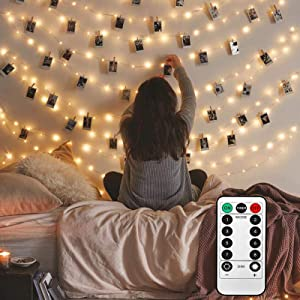 Toodour Photo Clips String Lights with Remote, 20 LED 10.33ft Photo Hanging Fairy Lights with 8 Lighting Modes for Christmas, Bedroom, Memorial Day, Wedding, Birthday, Party Decorations (Warm White)