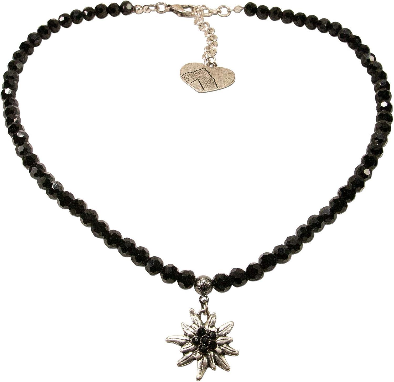 Alpenflüstern DHK237 - Collar de Perlas para Traje típico tirolés, diseño de Flor de Las Nieves con Brillantes, Color Negro