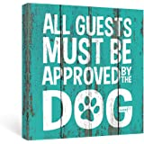 SUMGAR Farmhouse Wall Art Bedroom Dorm Rustic Decor Funny Dog Quotes Blue Canvas Paintings Teal Sayings Pictures Aqua White P