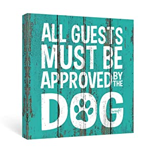 SUMGAR Farmhouse Wall Art Bedroom Dorm Rustic Decor Funny Dog Quotes Blue Canvas Paintings Teal Sayings Pictures Aqua White Prints Framed Artwork Front Door Doggy Owner Gifts,12x12 inch