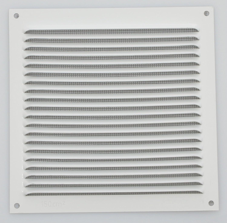 Wetterschutzgitter Lüftungsgitter Aluminium natur 17 x 17 cm mit Fliegendraht