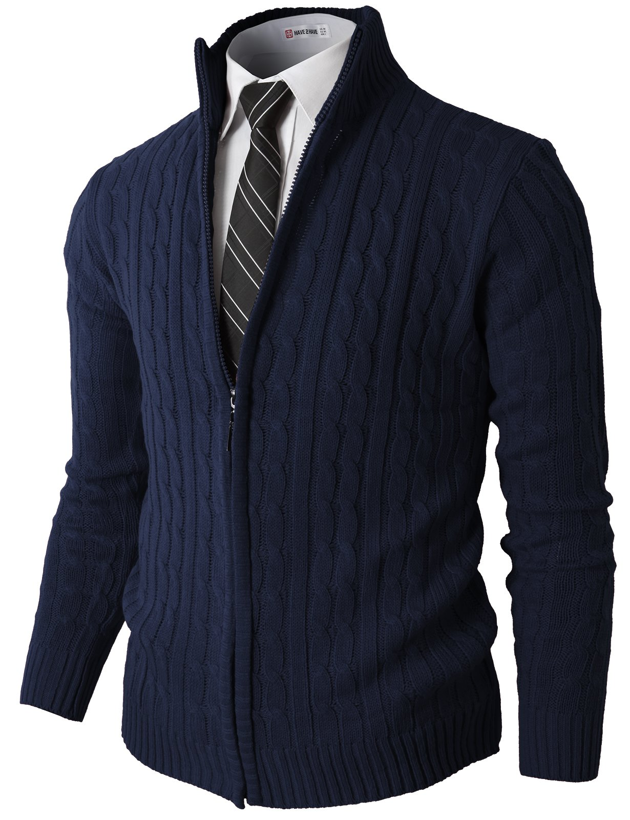 H2h Mens Casual Slim Fit Cardigan Long Sleeve Cable