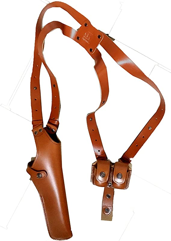 ALS455 Vertical Shoulder Holster with Double Speedloader Pouch Fits 357 Magnum 6'' & Similar Revolvers RH Handmade! Free Extension for Big Body Size!
