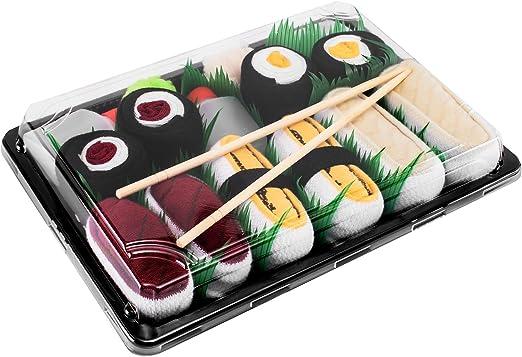 REGALO DIVERTIDO Algod/ón de alta Calidad|para Mujer y Hombre: Tama/ños 36-40 y 41-46 Idea Original 1 par de CALCETINES: Nigiri Tamago Certificado de OEKO-TEX Fabricado en EU Sushi Socks Box