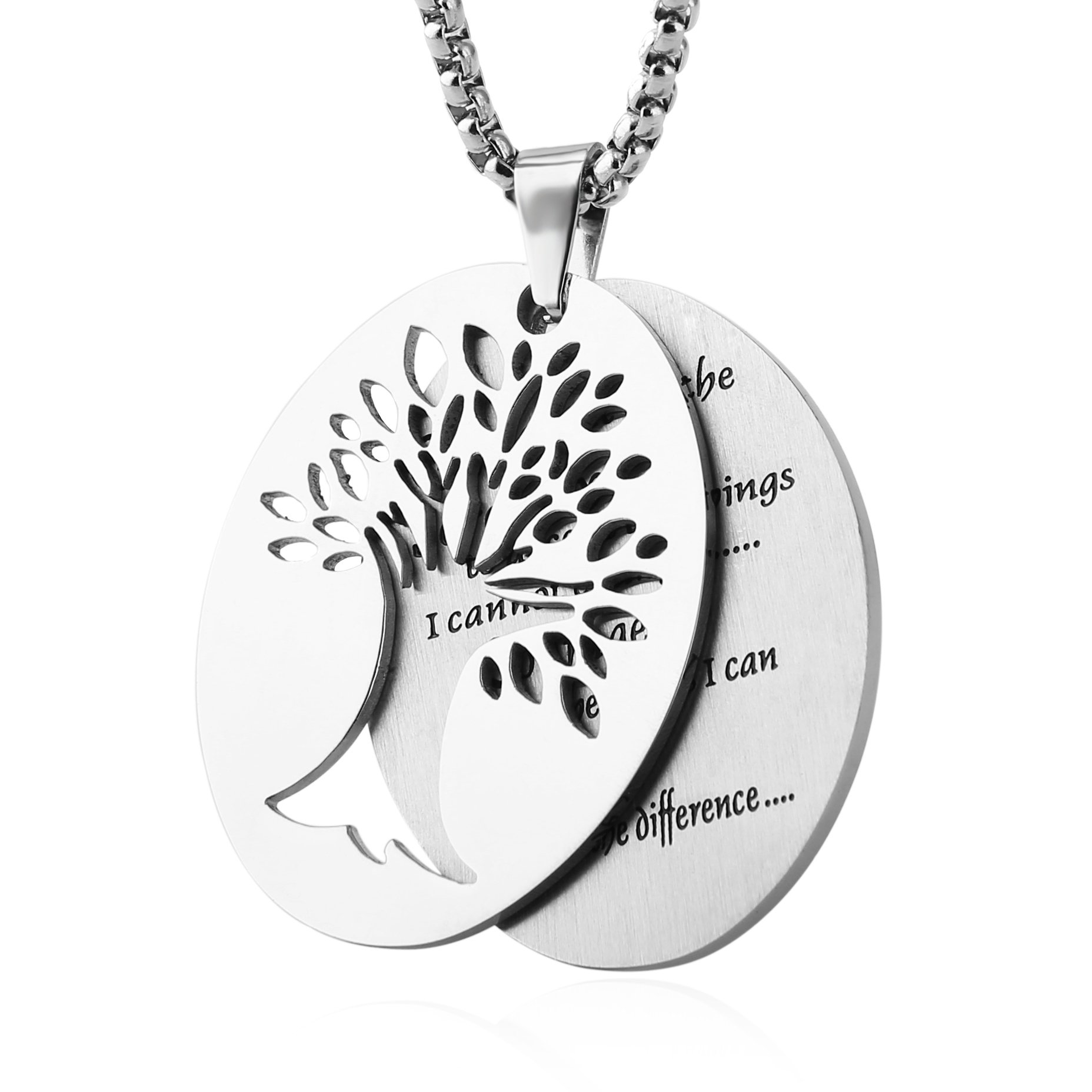 HZMAN Two Piece Serenity Prayer Stainless Steel Pendant Necklace With Tree Of Life Cut Out (Silver)