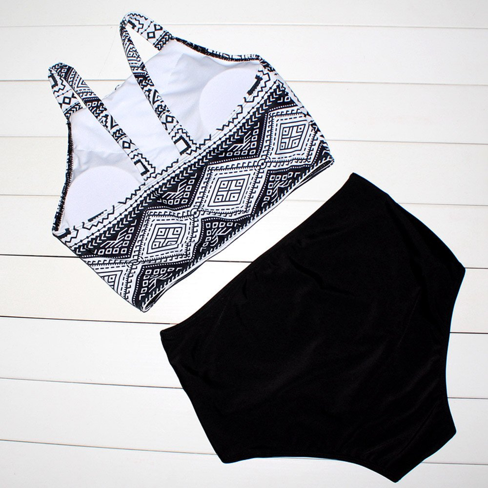 VICCKI Women Falbala High-Waisted Bikini Set Push-Up Swimsuit Bathing