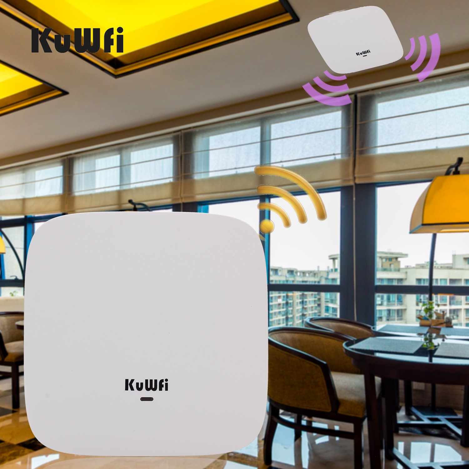 KuWFi Ceiling Mount Wireless Access Point, Dual Band Wireless Wi-Fi AP Router with 24V POE Long Range Wall Mount Ceiling Router Supply a Stable Wireless Coverage