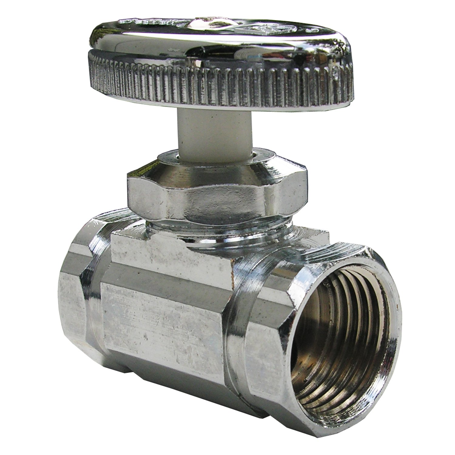 LASCO 06-7217 Straight Stop Valve, Standard Duty, 1/2-Inch Iron Pipe Inlet X 1/2-Inch Iron Pipe Outlet, Chrome by LASCO