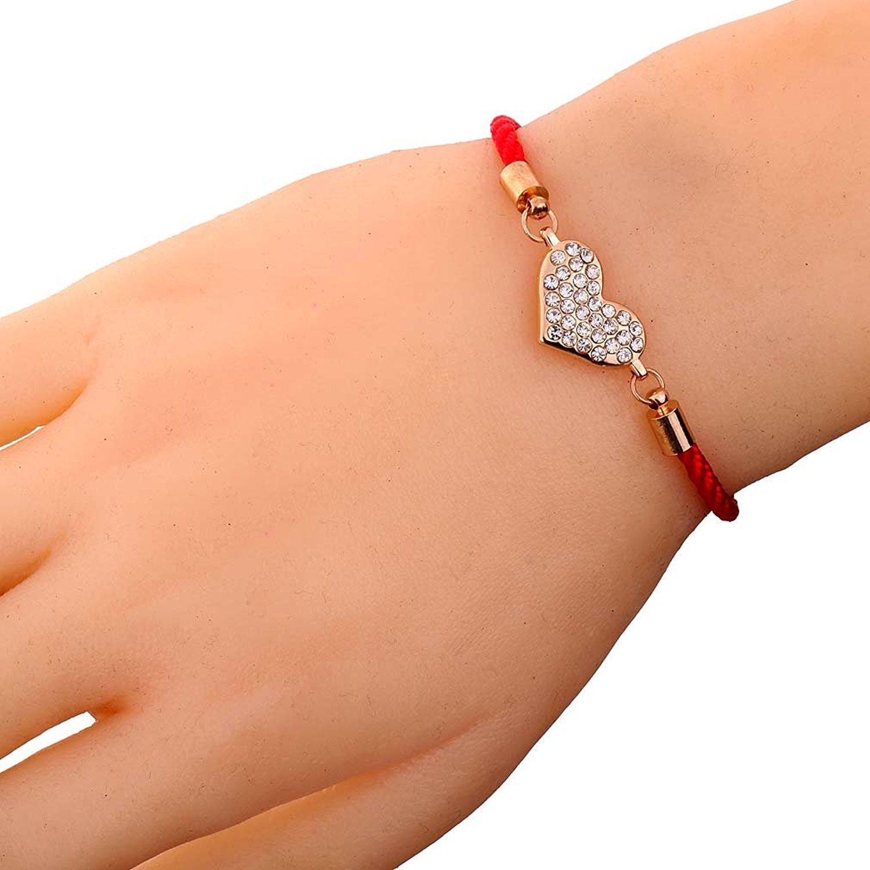 DVANIS Jewelry Pretty Golden Alloy Red String Heart Shape Full Crystal Friendship Bracelet Gift Idea 7+1.5 Extender