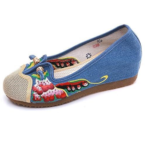 Zapatos de Madera de Los Rhinestone Loafer Flats Zapatillas de Lona Zapatos de Bordado de Punta
