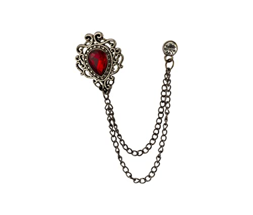 40c2a6f2657b Buy Knighthood Red Stone Gun Metal Engraving Swarovski Chain Brooch for Men  Online at Low Prices in India   Amazon Jewellery Store - Amazon.in